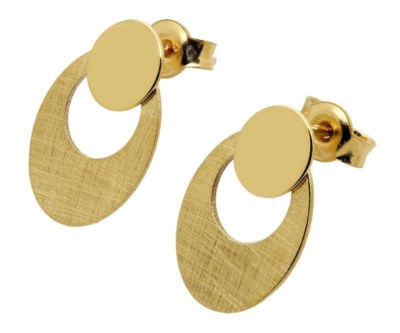 Złote kolczyki 585 matowane sztyft