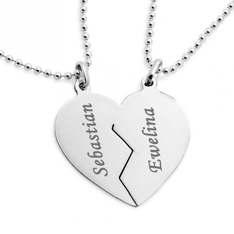 Serce Serduszko łamane naszyjnik komplet z łańcuszkami kulkowymi