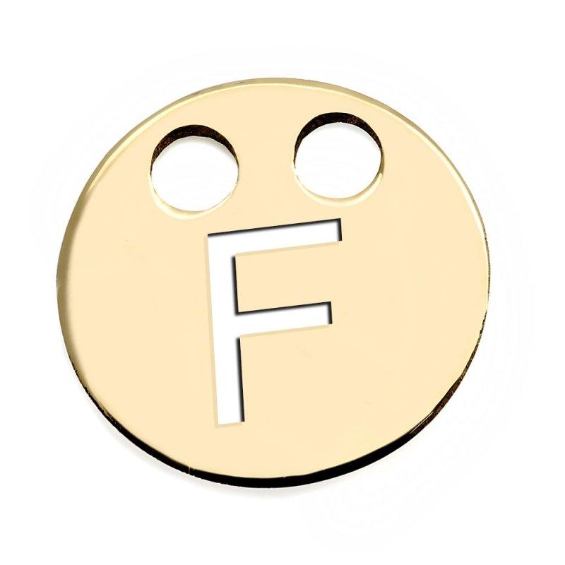 Złota zawieszka 585 kółeczko z literką F do celebrytki