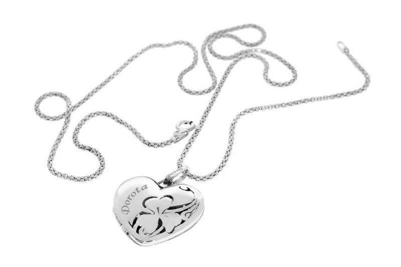 Srebrny komplet sekretnik zawieszka 925 serce + łańcuszek + etui