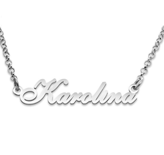 Srebrny napis Karolina- naszyjnik z imieniem , srebro 925