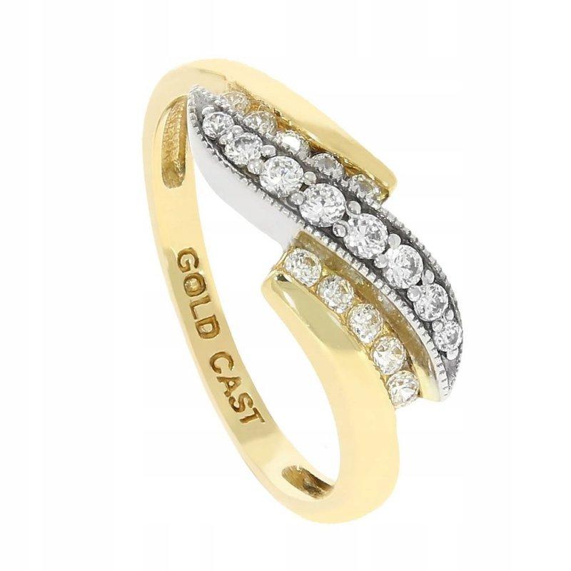 Złoty pierścionek 585 z cyrkoniami 2 kolory
