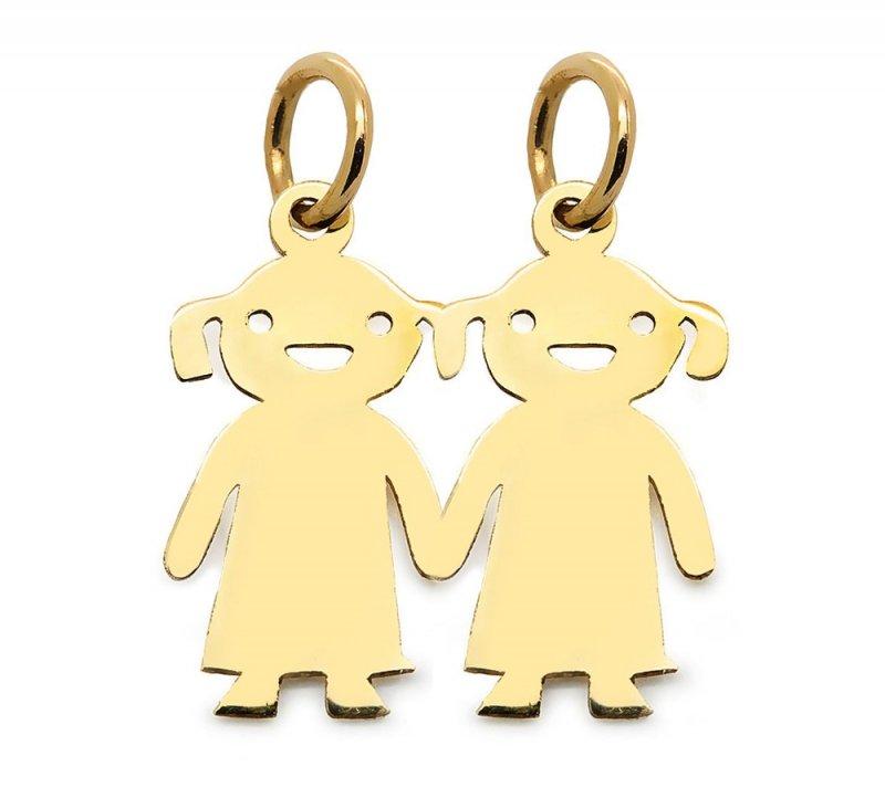 Złota zawieszka 585 dzieci dwie dziewczynki z grawerem | prezent dla mamy