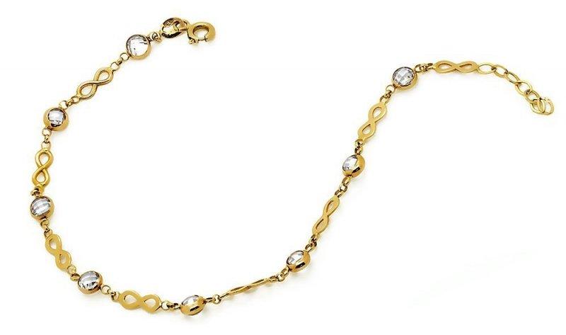 Złota bransoletka 585 nieskończoność