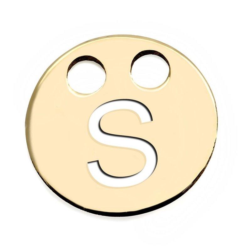 Złota zawieszka 585 kółeczko z literką S do celebrytki