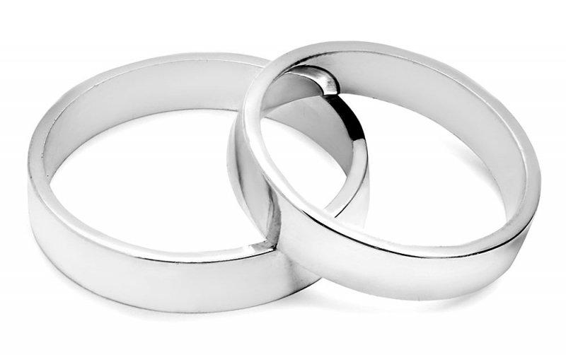 Ślubne obrączki srebrne 925 płaskie klasyczne 4 mm grawerowane