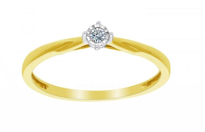Złoty pierścionek zaręczynowy 585 z brylantem 0,03ct