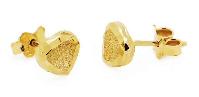 Złote kolczyki 585 matowane serduszka