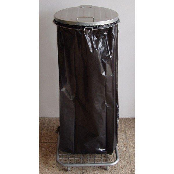 Stojak do worków na śmieci na kołach W1Mp z pedałem
