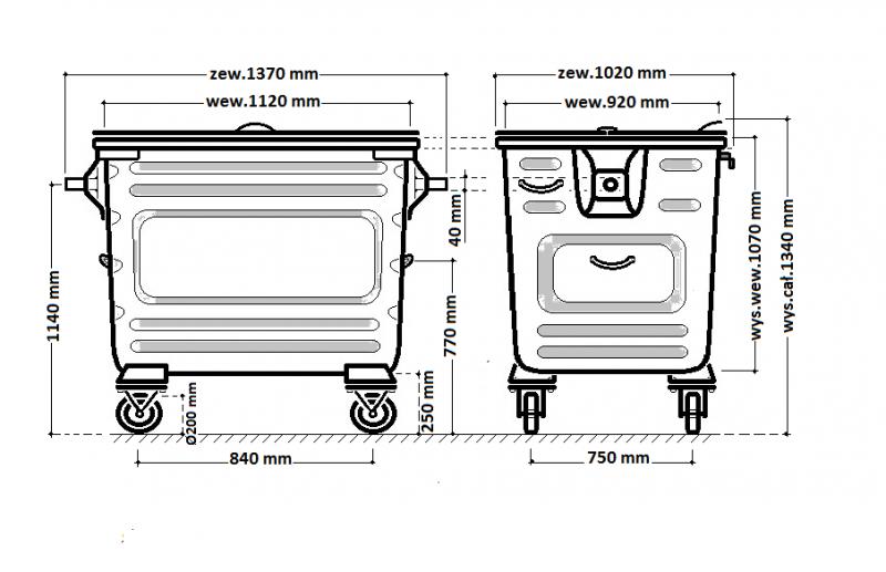 Metalowy pojemnik SM 1100 klapa w klapie, ocynk ogniowy