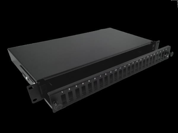 """Przełącznica 24xSC duplex 19"""" 1U z płytą czołową oraz akcesoriami montażowymi (dławiki, opaski)"""