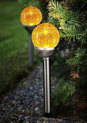 Lampa solarna LED ze szklaną kulą, 2-cz.