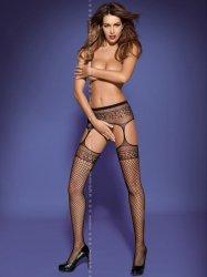 Pończochy Garter stockings S502 black Obsessive WYSYŁKA 24H