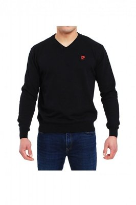 Sweter V-Logo czarny Pierre Cardin