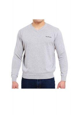 Sweter V-Napis szary Pierre Cardin