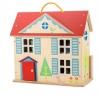 Drewniany, przenośny domek dla lalek,