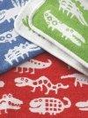 Klippan, pled z bawełny organicznej, funnymals, 70x90cm, czerwony