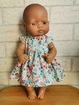 Olimi, sukienka dla lalki Miniland 32cm, turkusowa łączka