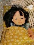 Olimi, muślinowa pościel dla lalki, tęcze na miodowym