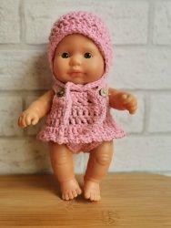 Olimi, ubranko szydełkowe z falbanką dla lalki Miniland 21cm, różowe