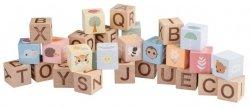 Joueco, zestaw drewnianych klocków Alfabet, z torbą