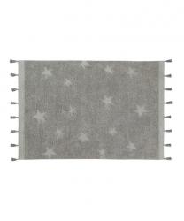 Lorena Canals, dywan bawełniany, hippy stars, grey, 120 x 175cm