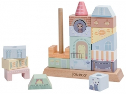 Joueco, drewniane klocki, układanka, kamieniczka