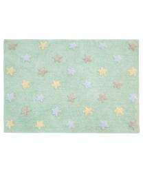 Lorena Canals, dywan bawełniany, tricolor, delikatna mięta, 120 x 160cm