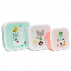 Petit Monkey, zestaw 3 lunch boxów, lama i przyjaciele