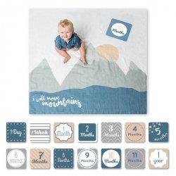 Lulujo, zestaw: kocyk muślinowy+ karty, góry