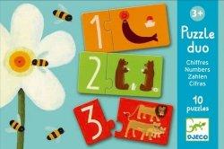 Djeco, puzzle duo, łączenie liczb i liter