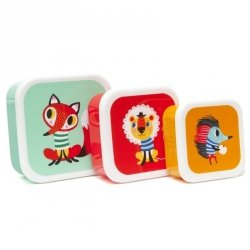Petit Monkey, zestaw 3 lunch boxów z tritanu, lis, lew, jeż