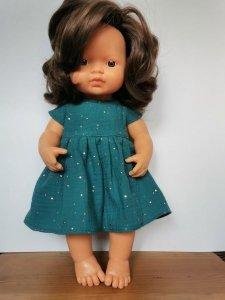 Olimi, sukienka z muślinu rozgwieżdżone niebo na ciemnym morskim dla lalki Miniland 38cm