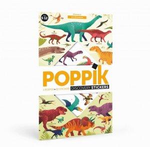 Poppik, wielki plakat wyklejanka, 32 naklejki, dinozaury