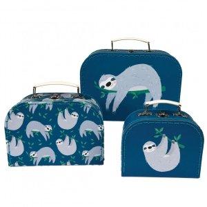 Rex, zestaw 3 walizeczek tekturowych, leniwce