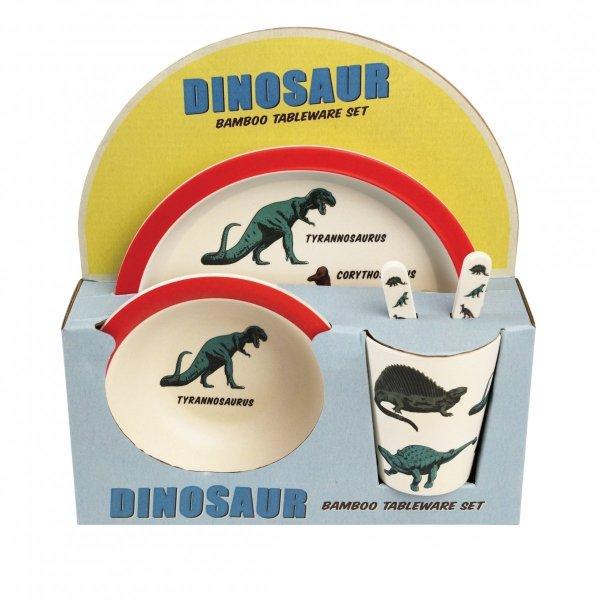 Rex, zestaw naczyń bambusowych, dinozaury