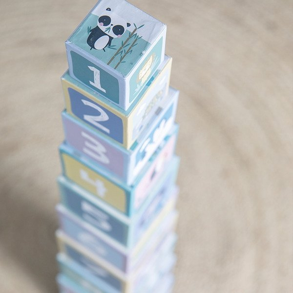 Little Dutch, wieża z kartonowych klocków, 10 elem, zoo