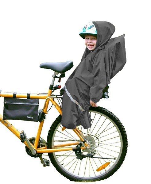 Tullsa, pokrowiec przeciwdeszczowy na fotelik rowerowy, gładki czarny