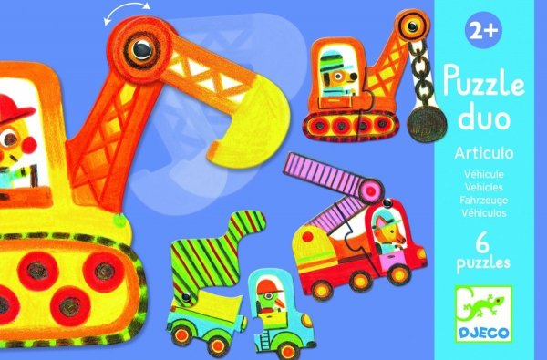 Djeco, puzzle duo, pojazdy