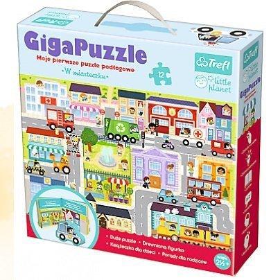 Trefl, giga puzzle, w mieście, z drewnianą figurką,Little Planet