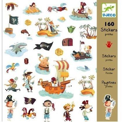 Djeco, zestaw 160 naklejek, piraci