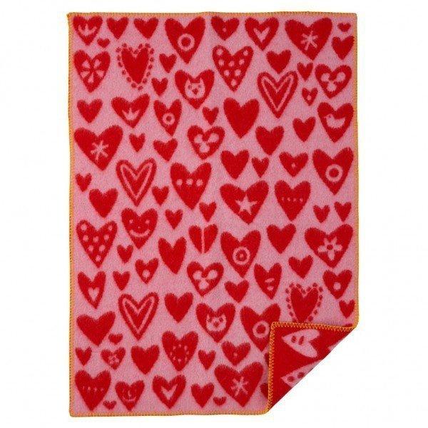 Klippan, wełniany kocyk, 65x90cm, baby hearts, różowy