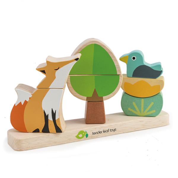 Tender Leaf Toys drewniana, magnetyczna układanka, lisek