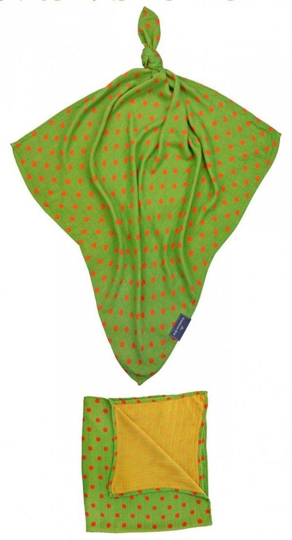 Otulaczx bambusowy, groszki, zielono- czerwony,120x120