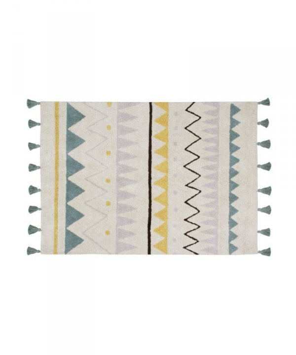 Lorena Canals, dywan bawełniany, Azteca, ntural vintage blue,, 120 x 160cm