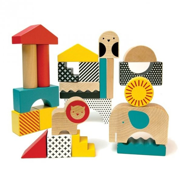 Petit Collage, zestaw drewnianych klocków - zwierzątek, 26 elem