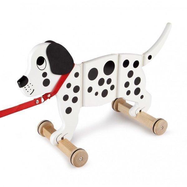 Tidlo, duży, drewniany pies na smyczy