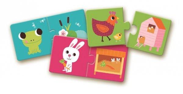 Djeco, puzzle duo, zwierzątka i ich domki