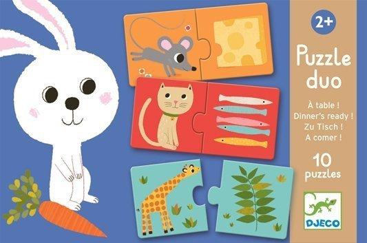 Djeco, puzzle duo, zwierzątka i ich obiadki