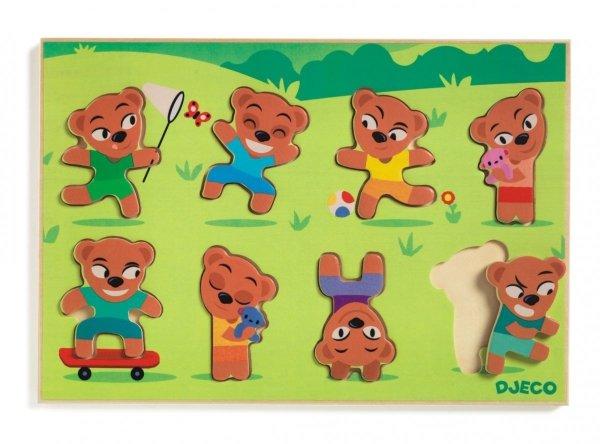 Djeco, drewniane puzzle - dopasuj misia,